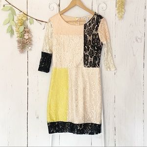 Bar III Color Blocked 3/4 Sleeve Lace Dress SZ M